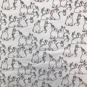 Cotton - Organic Knit Print - Rabbits