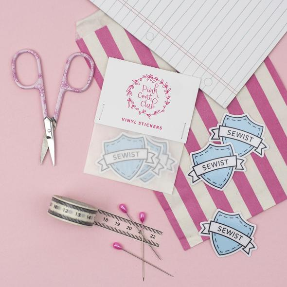 Pink Coat Club - Sewist Sticker- Blue