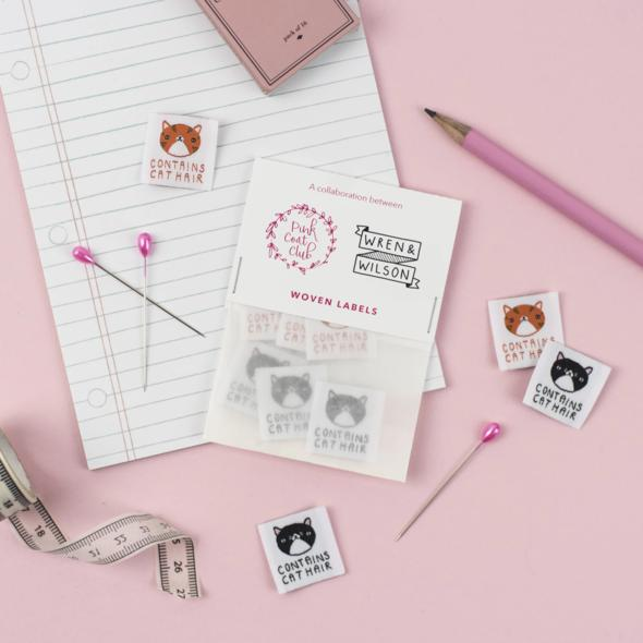 Pink Coat Club - Sewing Labels - Contains Cat Hair