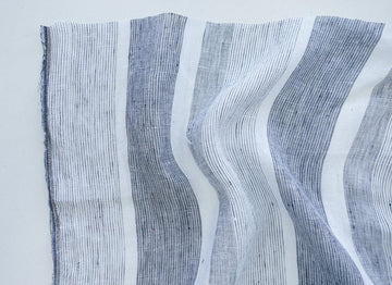 Linen Gauze - Stripe - White/Midnight
