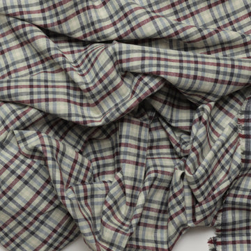 Organic Cotton Hemp - Flannel - Lt Sage Maroon