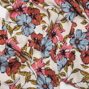 Viscose - Print - Rose Denim