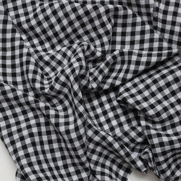 Linen - Gingham Check - Black White