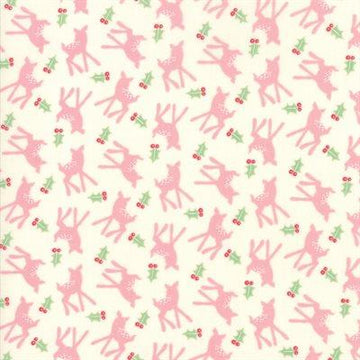 Moda - Cotton - Deer Christmas - Pink Buttermint