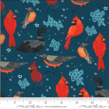 Moda - Cotton - Lakeside Story - Birds - Dark Blue