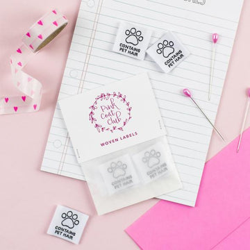 Pink Coat Club - Sewing Labels - Contains Pet Hair