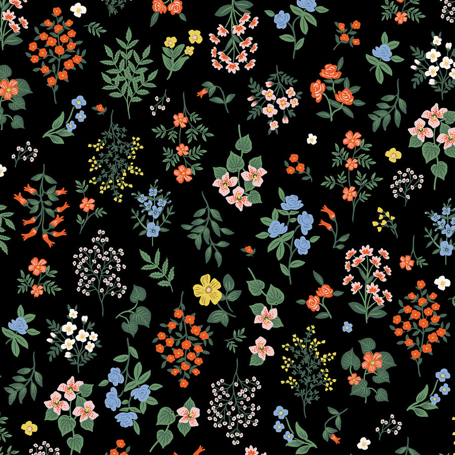 Rifle Paper Co - Cotton - Strawberry Fields - Hawthorne - Black