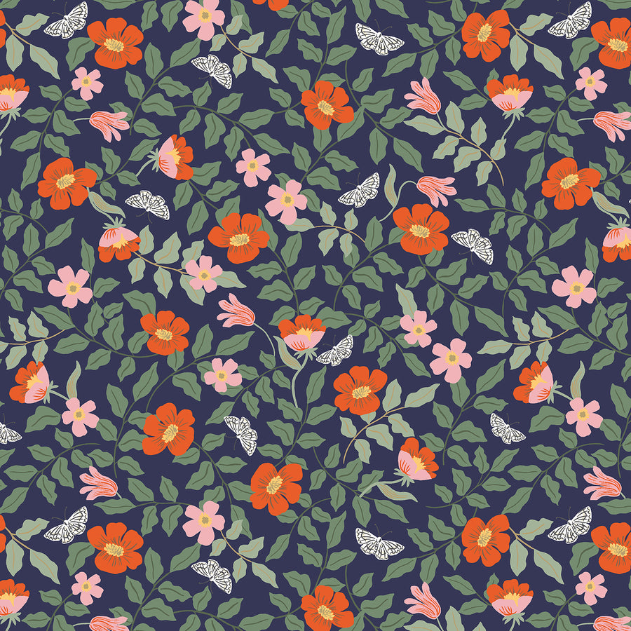 Rifle Paper Co - Cotton - Strawberry Fields - Primrose - Navy