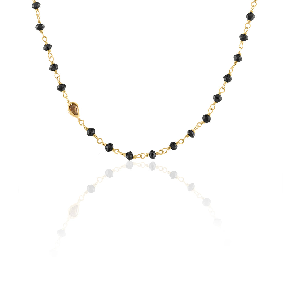 Black Diamond Bead Chain with Colored Diamond Accent