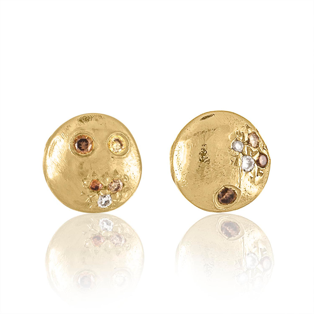 Sand Pave Disc Earrings