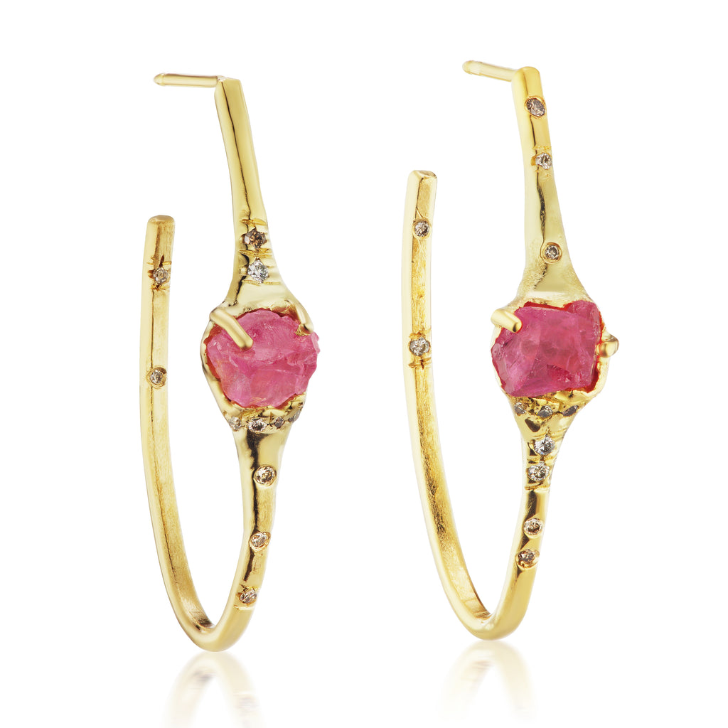 Blessing Hoop Earrings - Spinel