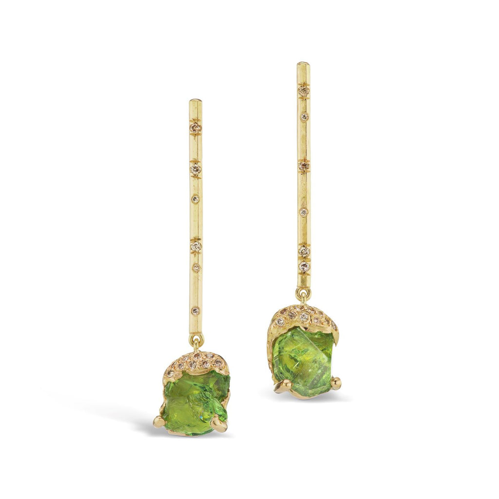 Hamisi Bar Drop Earrings - Chrome Tourmaline