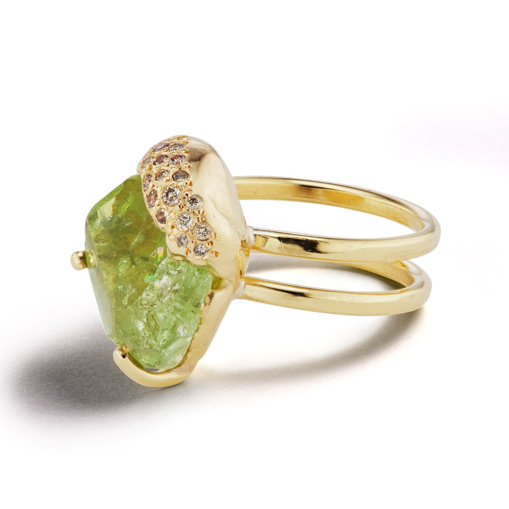 Zawadi Double Shank Ring - Green Tourmaline