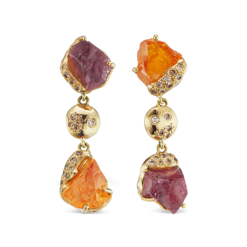 Rachel Earrings - Spessartine Garnet and Pink Tourmaline