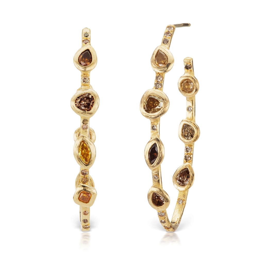 Stepping Stone Hoop Earrings (Statement)