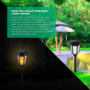 Solar Path Torch Light Waterproof Decor Flame Lamp 96 LED Flicker