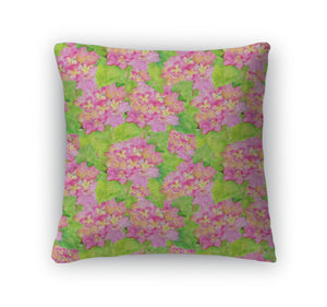 Throw Pillow, Pattern With Beautiful Hydrangea Pink Flowers
