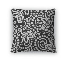 Load image into Gallery viewer, Throw Pillow, Black And White Abstract With Paisley
