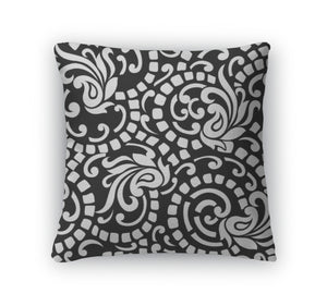 Throw Pillow, Black And White Abstract With Paisley