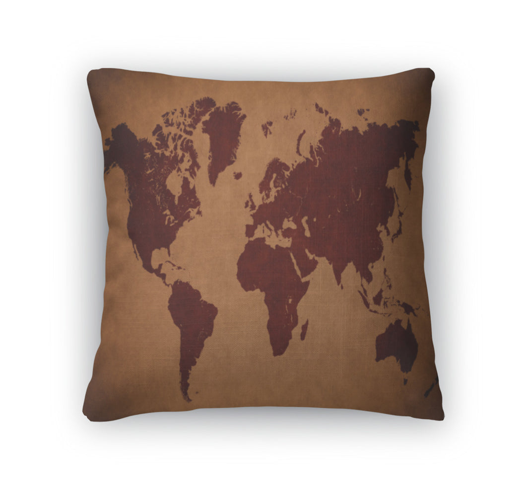 Throw Pillow, Old Vintage World Map