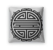 Load image into Gallery viewer, Throw Pillow, Shou Symbol Lotus Chinese Good Luck Charm Longevity Good Health