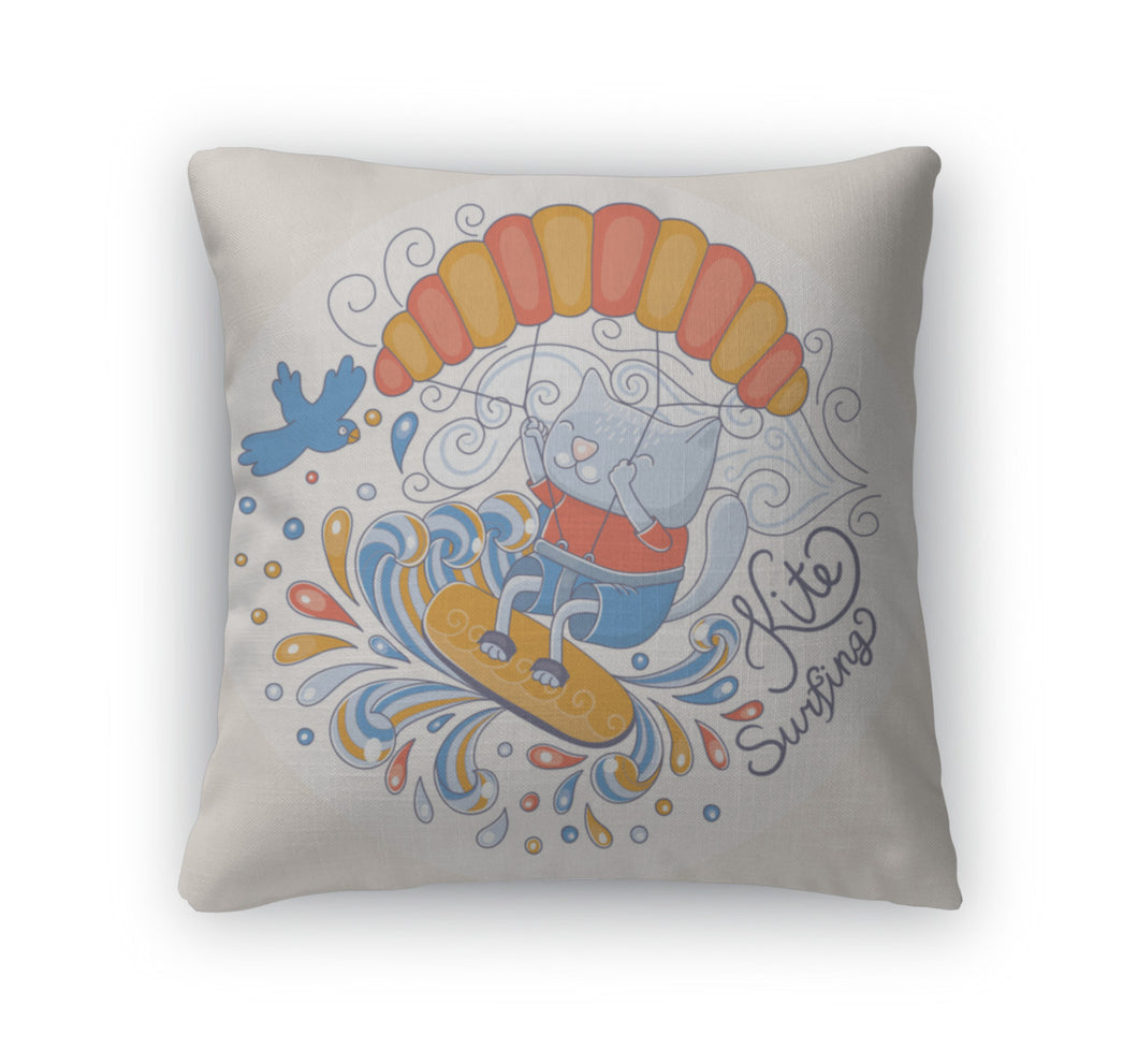 Throw Pillow, Kiting Cat