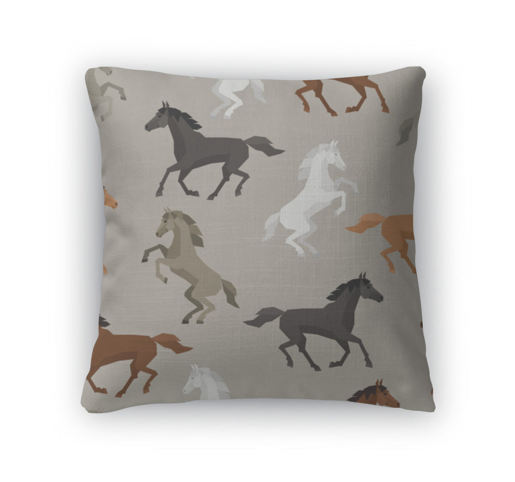 Throw Pillow, Pattern With Horse In Flat Style