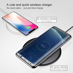 15W Quick Fast Wireless Charger For iPhone X 8 Samsung Note8 S7 S8 S9 S9+ S10