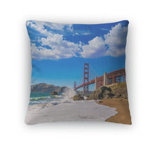 Load image into Gallery viewer, Throw Pillow, San Francisco Golden Gate Bridge Marshall Beach California