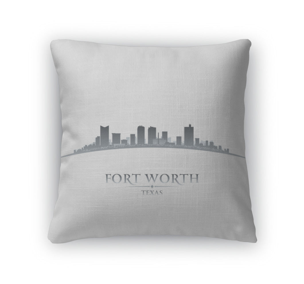 Throw Pillow, Fort Worth Texas City Skyline Silhouette White