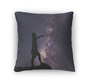 Throw Pillow, Starcatcher Person Standing Next The Milky Way Galaxy Pointing Star