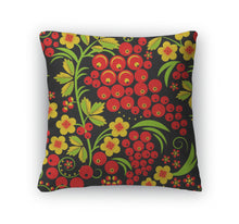 Load image into Gallery viewer, Throw Pillow, Traditional Russian Hohloma Style Pattern Illus