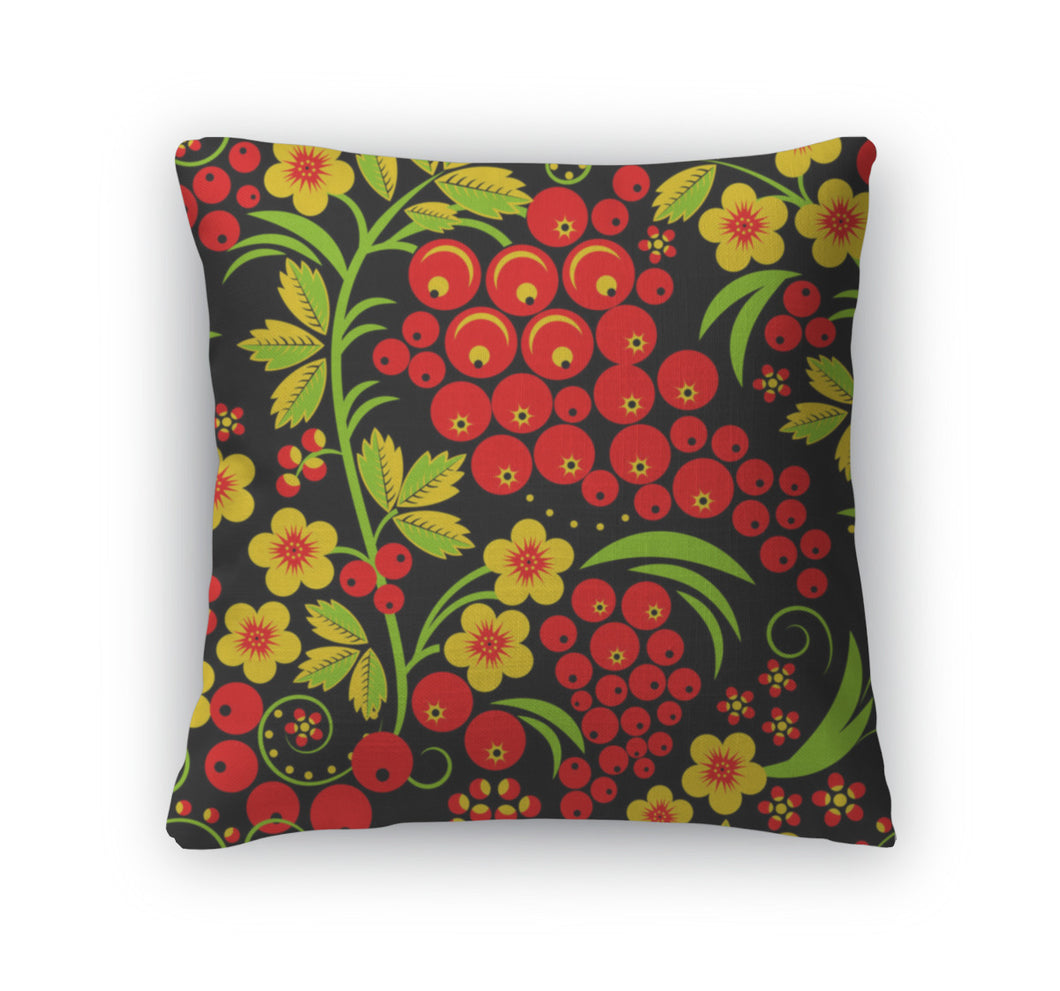 Throw Pillow, Traditional Russian Hohloma Style Pattern Illus