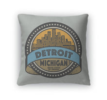 Load image into Gallery viewer, Throw Pillow, Grunge Rubber Stamp With Name Of Detroit Michigan