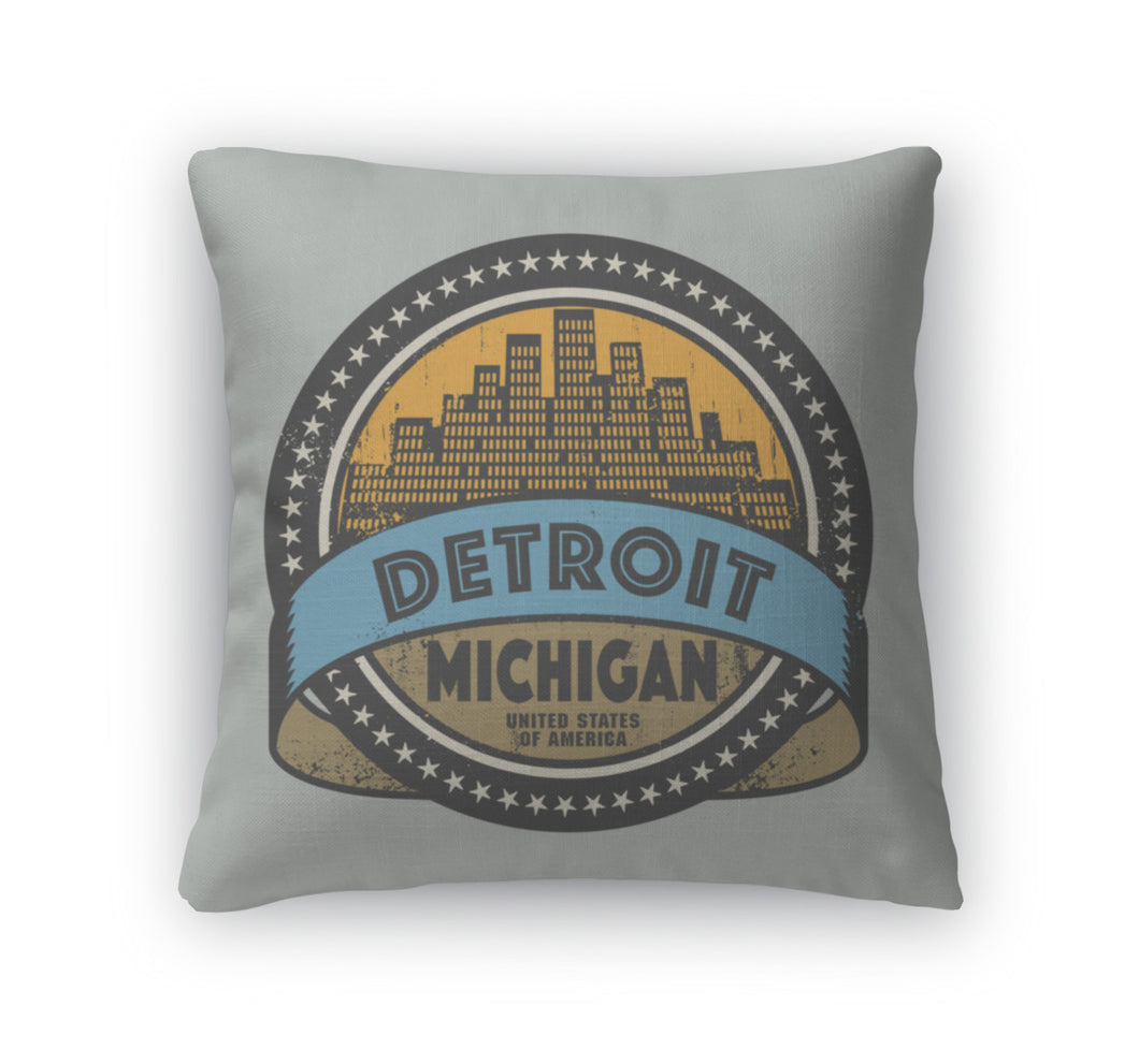 Throw Pillow, Grunge Rubber Stamp With Name Of Detroit Michigan