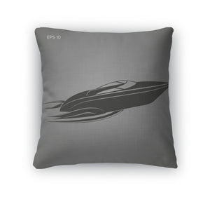 Throw Pillow, Speedboat Isolated Icon Luxury Boat Streamline