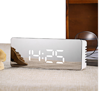 Mirror Alarm Clock Digital LED Light Display Multifunction Night Time Table Desktop Alarm Clock Snooze