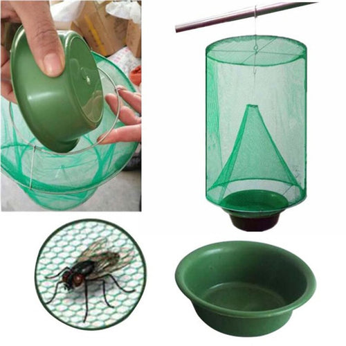 1PCS Pest Control Reusable Hanging Fly Catcher Killer Flies Flytrap Zapper Cage Net Trap Garden Home Yard Supplies