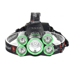 LED Headlamp 50000lm 5*T6 Bike Light Rechargeable Fish Camp Flash