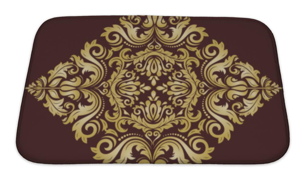 Bath Mat, Damask Pattern Orient Golden Ornament