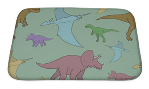Bath Mat, Pattern With Colorful Dinosaurs