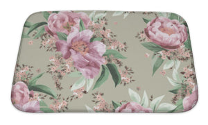 Bath Mat, Floral Pattern With Pink Roses