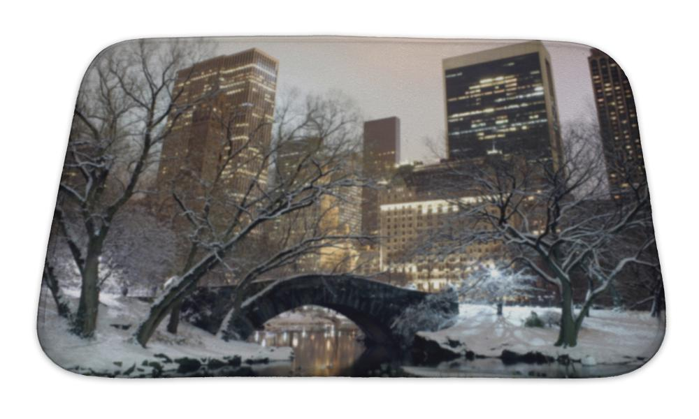 Bath Mat, Central Park Nyc At Night In Winter