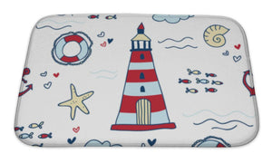 Bath Mat, Nautical Pattern With Lighthouses