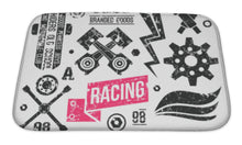 Load image into Gallery viewer, Bath Mat, Car Racing Badges In Retro Style
