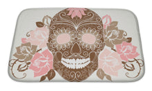 Load image into Gallery viewer, Bath Mat, Skull And Roses Colorful Day Of The Dead Card