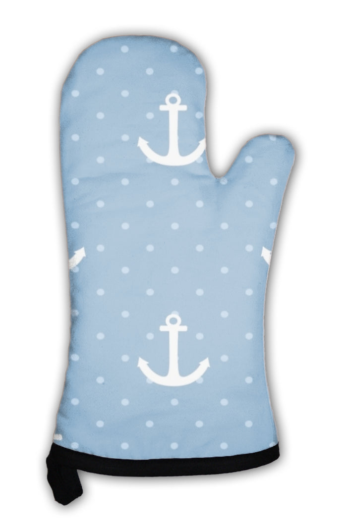 Oven Mitt, Tile Sailor Pattern With White Anchor And Polka Dots On Navy Blue