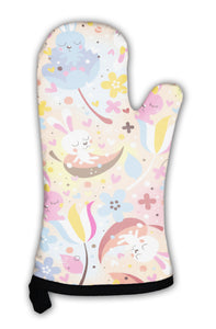 Oven Mitt, Bunnies Flowers Pattern
