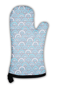 Oven Mitt, Abstract Pattern In Blue