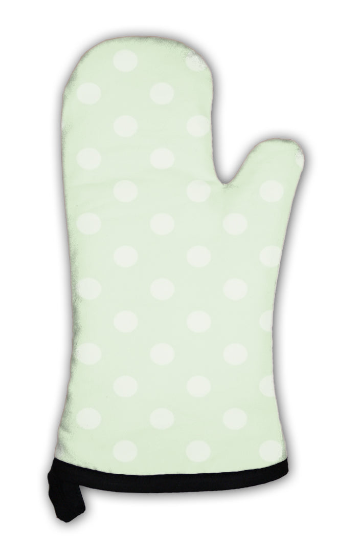 Oven Mitt, Pattern With Light Mint Green Polka Dots On A Fresh Spring Grass Green
